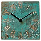 Turquoise Copper Rustic Square Wall Clock 6-inch – Silent Non Ticking Gift for Home/Office/Kitchen/Bedroom/Living Room