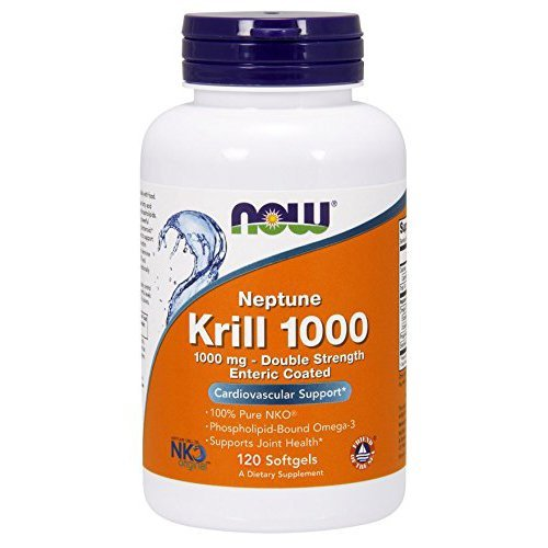 Now Supplements, Neptune Krill, Double Strength 1000 mg, Phospholipid-Bound Omega-3, 120 Softgels (Best Krill Oil 1000mg)