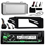 98-2013 JVC Harley Touring ATV Install Adapter Dash Kit FLHT CD MP3 AM/FM Radio Stereo With Bluetooth FLHTC CD Dash FLHX With Enrock Marine Radio Antenna + Stereo Cover
