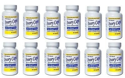 Ivory Caps Skin Lightening Whitening Support Pill 1500 mg Glutathione , preventing darkening of skin pack of 12