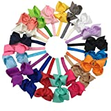 XIMA Grosgrain Bows with Baby Headbands 5inch Ribbon Hair Bows Headbandspack of 20 …
