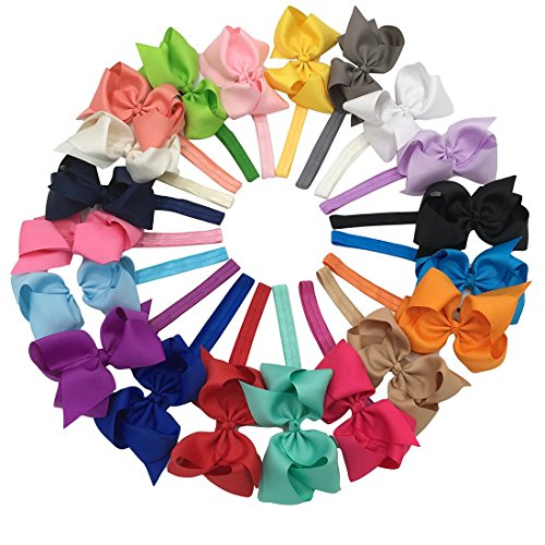 XIMA Grosgrain Bows with Baby Headbands 5inch Ribbon Hair Bows Headbandspack of (Grosgrain Baby Headband)
