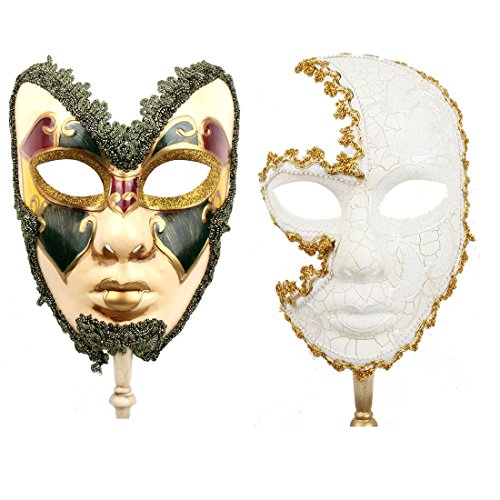 YUFENG 2 Pack Couple's Venetian Cosplay Masks Venetian Musical Carnival Mardi Gras Masquerade Mask On a Stick Party Fancy Dress -