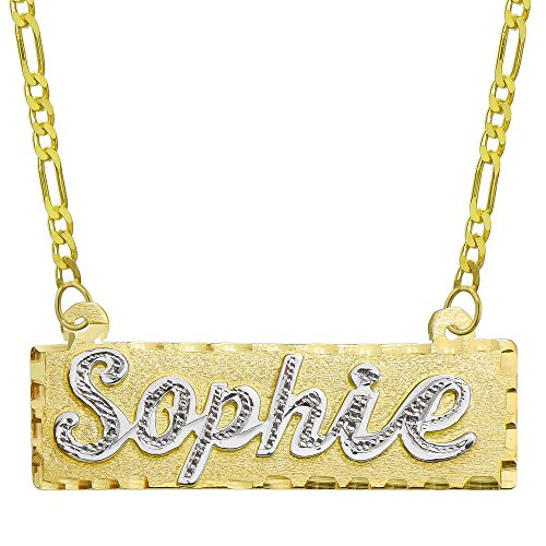 14K Two Tone Gold Personalized Name Plate Necklace - Style 2