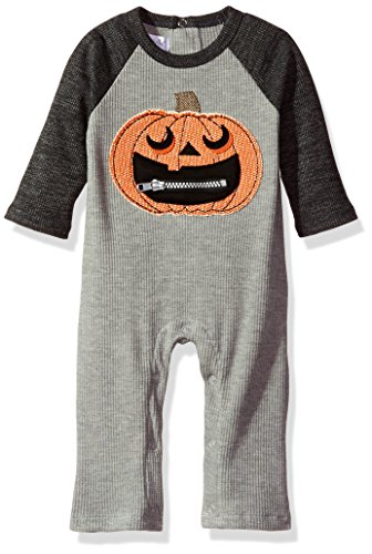 Mud Pie Baby Boys' Halloween Long Sleeve Waffle Weave One Piece Outfit, Gray, 9-12 MOS (Halloween Mud Pie Clothes)