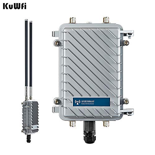 KuWFi High Performance 300Mpbs 2.4G Outdoor CPE/AP Waterproof Outdoor Base Station Access Point with 18dBi Panel Antenna Support Wireless AP, Gateway, WiFi Repeater, Bridge, WISP