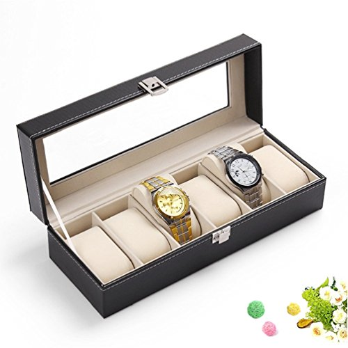 Wuligirl 6 Mens Wooden Watch Box Black PU Leather Glass Top with Metal Lock Display Storage Organizer Watches Case for Men(6 - Glasses Wooden Framed