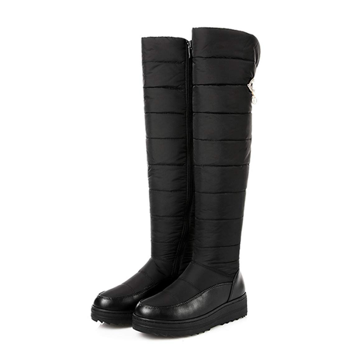 Black DOSOMI Women's Waterproof Winter Fully Down Lined Zipper Closure Middle Heel Sexy Snow Over The Knee High Boots