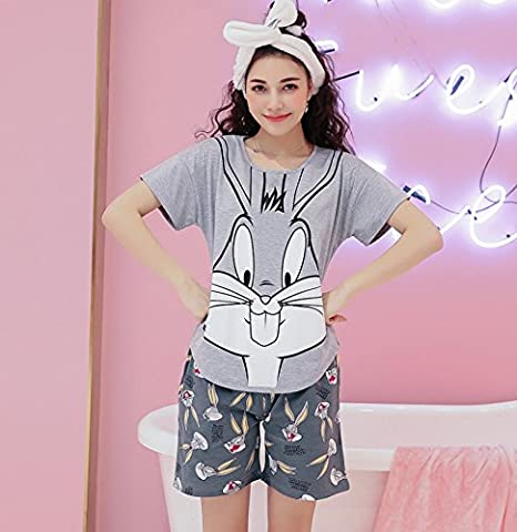 Blue Stones Women Clothes for Summer Pajamas Sets O-Neck Sleepwear Lovely Rabbit Pijamas Mujer