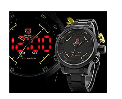 Mens 3d Shark Digital LED Date Analog Big Face Sport Alarm Quartz Wrist Watch Black+yellow