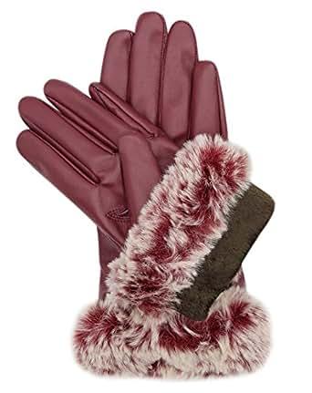 Women Winter Lambskin Leather Touch Screen Gloves Soft