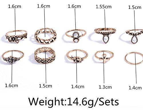DesiDo® - Set de anillos orientales vintage Midi. Con adornos de cristal, elefante, cruz, media luna y adornos dentados en oro y plata de imitación