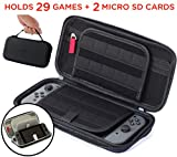 Nintendo Switch Accessories Case - (29 Video Game Cartridges and 2 Micro SD Card Holders) Protective Hard Portable Deluxe Travel Carry Case Shell Pouch by Acaris (Black)