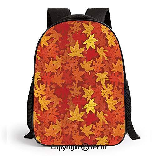 Kids School Backpack,Multi Colored Autumn Fall Maple Leaves in Unusual Designs Nature Theme Artprint Nursery Room Decorations Classic,Plain Bookbag Travel Daypack,Burnt Orange