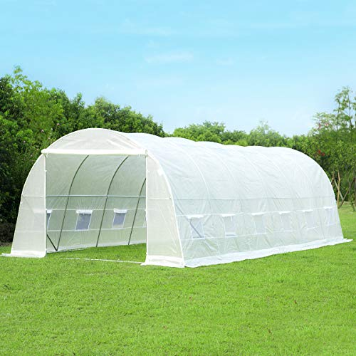 Mellcom 26′ x 10′ x 7′ Greenhouse Large Gardening Plant Hot House Portable Walking in Tunnel Tent, White