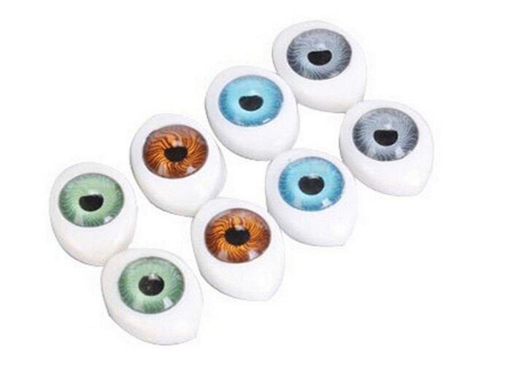 8Pair(16PCS) Oval Doll Eyes-Hollow Acrylic Doll Bear Craft Eyes Eyeballs for DIY Sewing Craft Puppet Bear Doll Animal Stuffed Toys (23mm x 16mm)