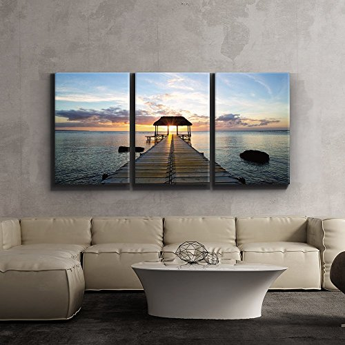 Print Contemporary Art Wall Decor Beautiful Inspiring Calmness at Sunset Giclee Artwork Gallery ped Wood Stretcher Bars x3 Panels