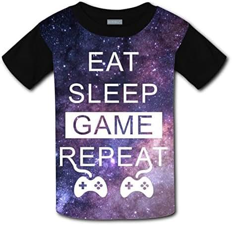 CuGuGo Youth Eat Sleep Game Repeat 3D T Shirt Kids Short Sleeve