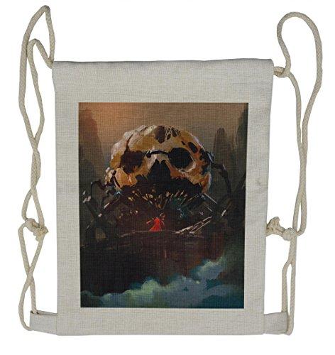 Lunarable Fantasy Drawstring Backpack, Wizard Villain and Skull, Sackpack Bag