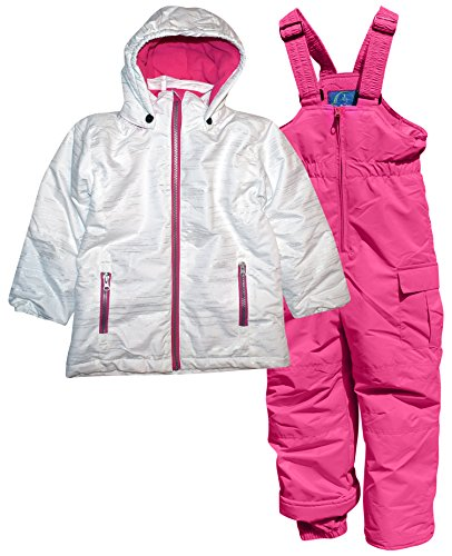 Pulse Little Girls' 2 Piece Snowsuit Set Glitter Coat and Snow Bibs (Small (4/5), White Pink) ()