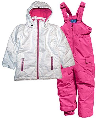 Pulse Little Girls' 2 Piece Snowsuit Set Glitter Coat and Snow Bibs (Small (4/5), White (Preschool Girls Ski Jacket)