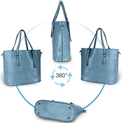 Women Top Handle Satchel Handbags Shoulder Bag Messenger Tote Bag Purse IUKIO (Light Blue) by IUKIO (Image #6)
