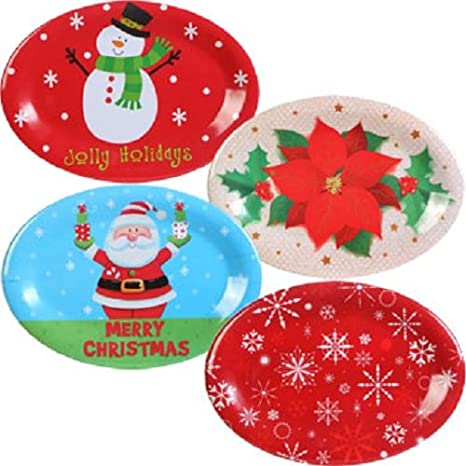 Christmas Platters And Trays.4 Pack Holiday Oval Plastic Serving Trays