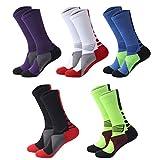 Girl's Elite Athletic Sock Sport Basketball Soccer Dri-Fit Cushion Calf Ankle Performance Socks for Sneaker 5 Pack
