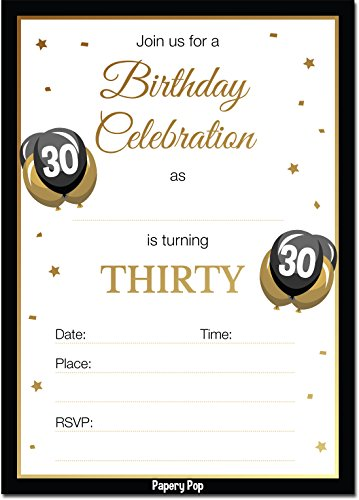 30th Birthday Invitations with Envelopes (30 Count) - 30 Thirty Year Old Anniversary Party Celebration Invites Cards -
