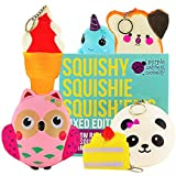 6 Slow Rising Jumbo Squishies Pack in a Gift Box: Ice Cream, Panda Bun, Cake, Toast, Whale and Owl Kawaii Soft Squeeze Squishy Toys - These Cute Animal & Food Squishys Are Great Sensory Toys for Kids!