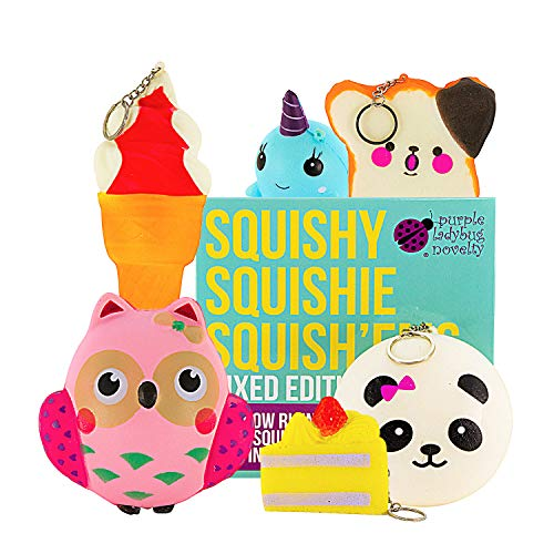 6 Slow Rising Jumbo Squishies Pack in a Gift Box: Ice Cream, Panda Bun, Cake, Toast, Whale and Owl Kawaii Soft Squeeze Squishy Toys - These Cute Animal & Food Squishys Are Great Sensory Toys for Kids! by Purple Ladybug Novelty