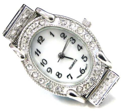 Silver Interchangeable Beaded Watch - Linpeng Internationa Watch Face Frame, 24 by 30mm, Silver with Rhinestone Edge