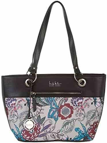 Nicole Miller New York Floral Print Margot Tote Handbag One Size Black multi b52f8301f8462