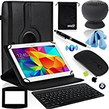 EEEKit 8 Items Office Kit for Samsung Galaxy Tab A 9.7/Verizon Ellipsis 10/Toshiba Encore 2 WT10,Rotating Case Cover,Bluetooth Keyboard/Mouse,Speaker