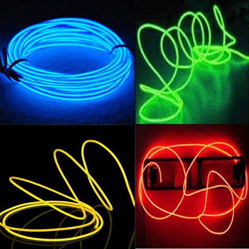 4-Pack 5M 15ft El wire Neon Glowing Strobing Electroluminescent Wires (Blue, Green, Red, Yellow) -