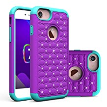 iPhone 7 Plus Case, NOKEA Studded Rhinestone Crystal Bling [Shockproof] Dual Layer 2 in 1 Hybrid [Hard Cover + Soft Silicone] Defender Protective for iPhone 7 Plus (2016 released) (Purple+Green)