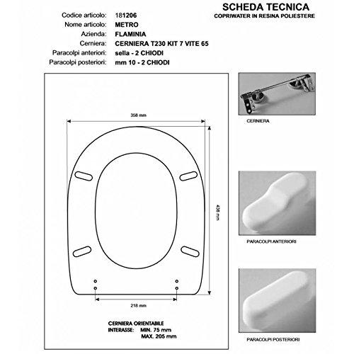 ACB COLBAM WC-Deckel aus Holz, beschichtet mit Polyester für Flaminia Metro, Champagne, Soft-Close-Scharnier, Chrom, WC-Sitz