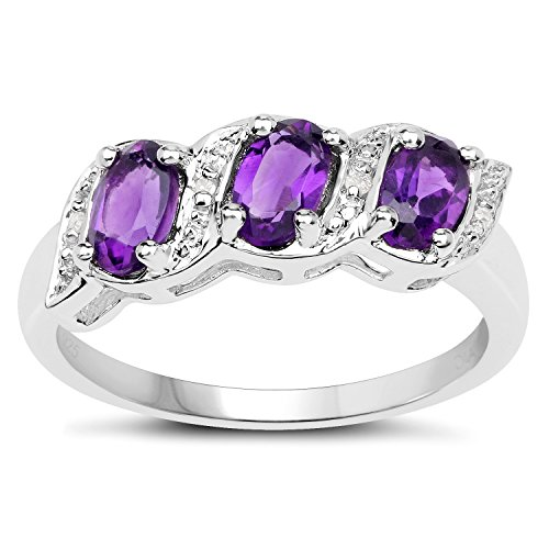 The Diamond Ring Collection: Sterling Silver Genuine Amethyst & Diamond...