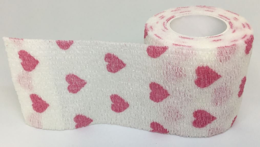 5cm Cohesive bandage in White with red hearts x 4 Rolls ideal for equestrian, small animals and general strapping support Generic