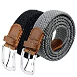 Maikun Braided Elastic Stretch Woven Belt with Leather Tip Nickle Pin 45in Buckle Dark Blue