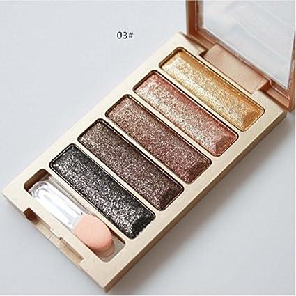 Nueva sombra de ojos de 5 colores Brillo Maquillaje Paleta de sombras de ojos Xinantime (C): Amazon.es: Belleza