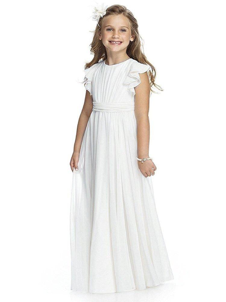 Carat Fancy Chiffon Flutter Sleeves Flower Girl Dresses White, A-White, Size 8