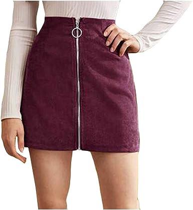 AOGOTO Falda de pana con cremallera para mujer y niña, falda ...