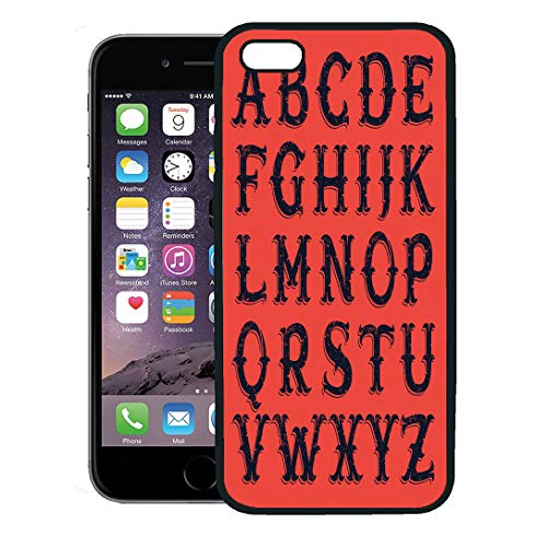 Semtomn Phone Case for iPhone 8 Plus case,Red Circus Vintage Western Victorian for Historical Labels Halloween Alphabet iPhone 7 Plus case Cover,Black ()