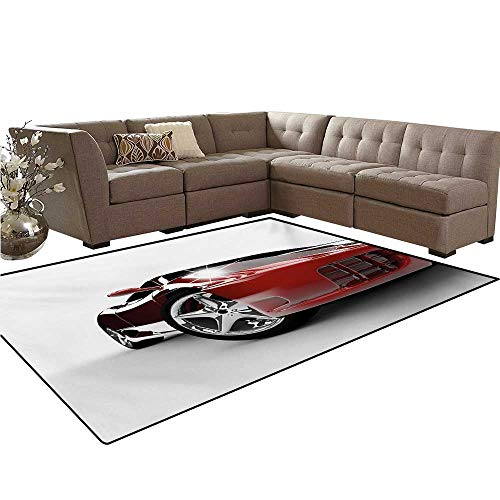(Teen Room Customize Door mats for Home Mat Modern Automotive Vivid Toned Car Back View Prestige Passion Artistic Image Bath Mats Carpet 6'x7' Black and Ruby)