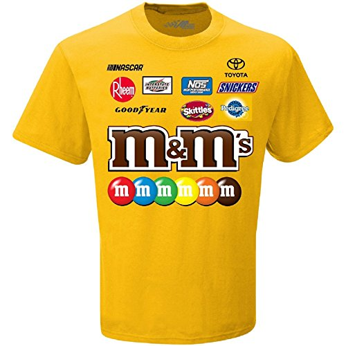 Kyle Busch Jackets - Checkered Flag Men's 2018 NASCAR Uniform Sponsor T-Shirt-Kyle Busch #18-M&M's-Gold-Large
