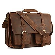 """Kattee Men's Crazy Horse Leather Briefcase 16"""" Laptop Messenger Bag Backpack"""
