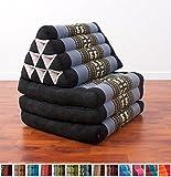 Leewadee Foldout Triangle Thai Cushion, 67x21x3 inches, Kapok Fabric, Blue, Premium Double Stitched