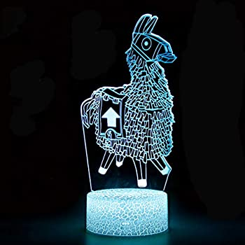 Fortress 3D Night Light 7 Color Changeable Table Lamp Base Cool Nightlight for Kids Birthday Holiday Christmas Gift (Llama Crackle Bas)