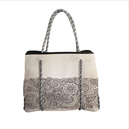 Neoprene Multipurpose Beach Bag Tote Bags,Henna,Complex Design with Mandala and Paisley Nature Inspired Traditional Victorian Revival,Tan Brown,Women Casual Handbag Tote Bags